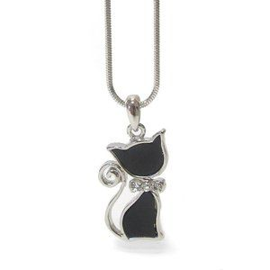 Rhinestone and Faux Onyx Cat Necklace